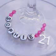 21st Birthday Personalised Wine Glass Charm